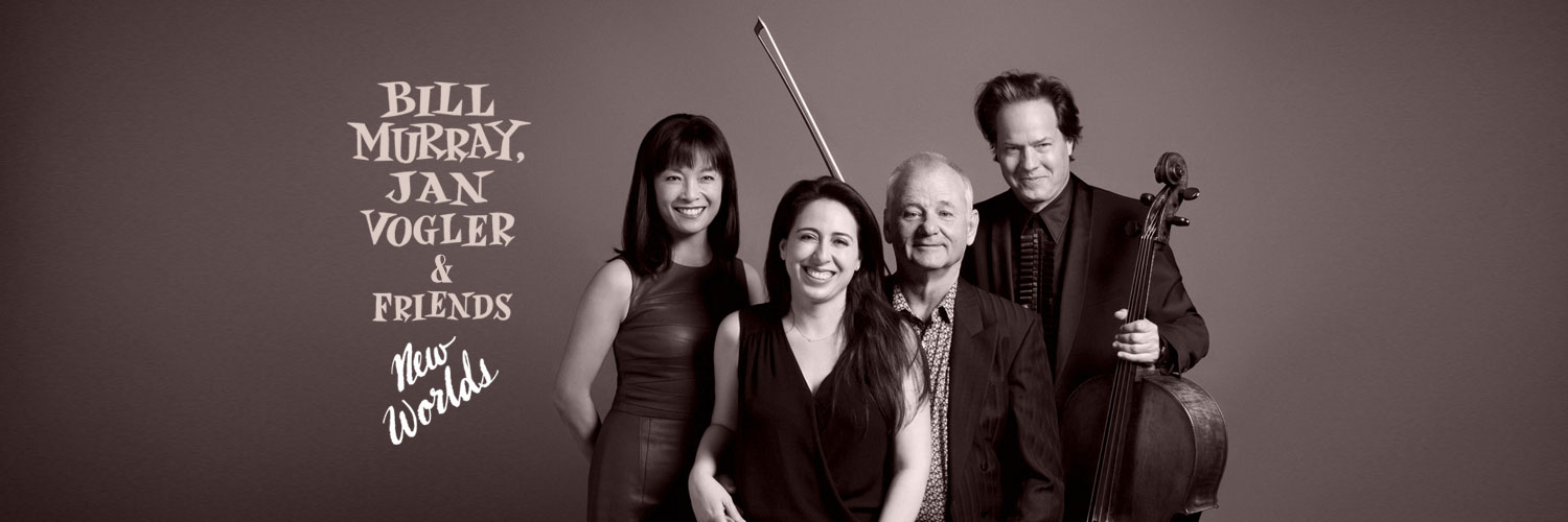 photo of bill murray, jan vogel and friends, holding instruments, black and white