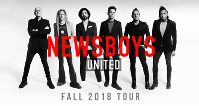 "black and white image of newsboys members standing with ""newsboys"" text overlay"