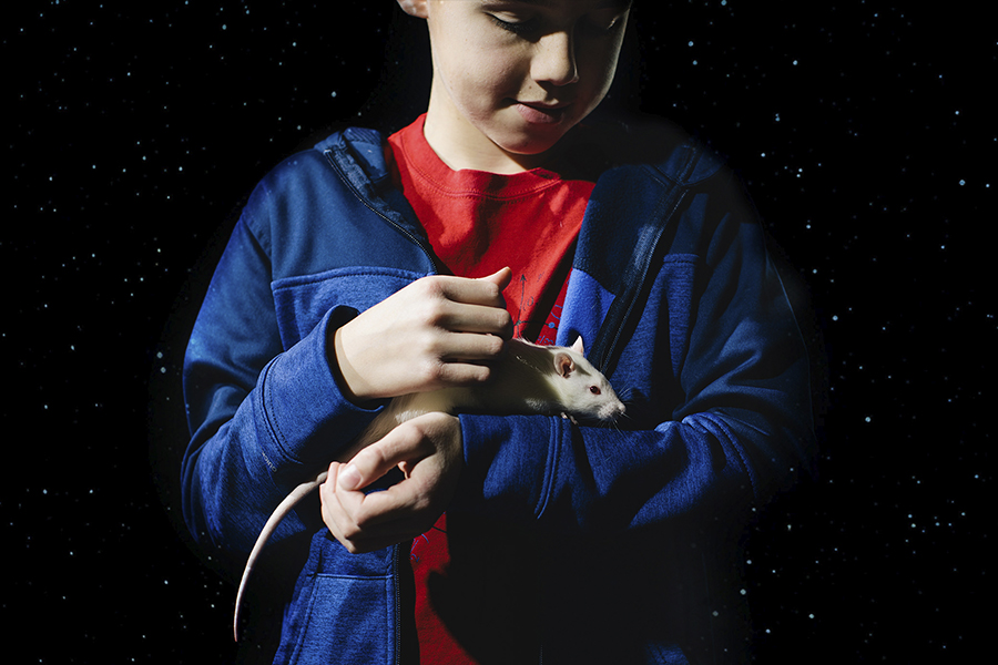 kid holding a mouse on his forearm