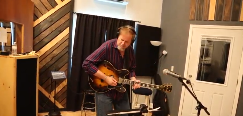 dave stryker playing guitar in studio