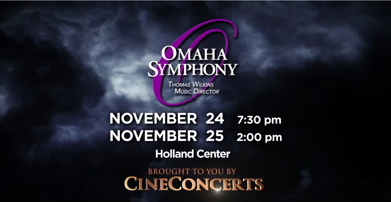 image of stormy sky with omaha symphony title, showing harry potter in concert November 24 & 25 at 7:30 and 2pm at the Holland Center