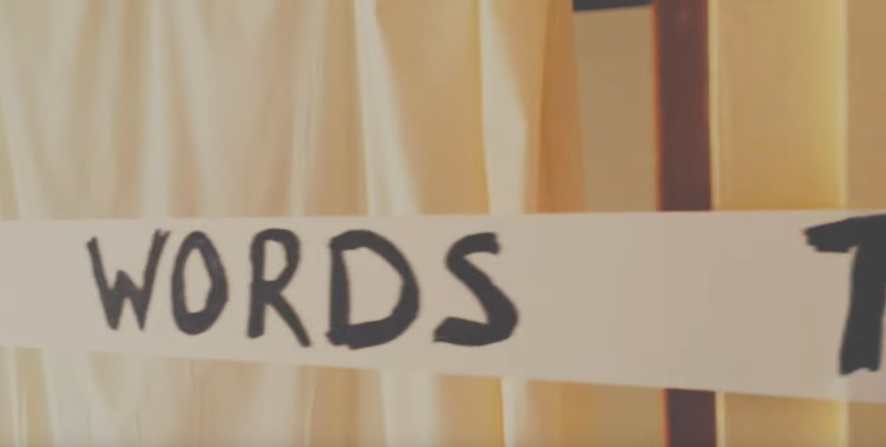 screen shot of video showing the word